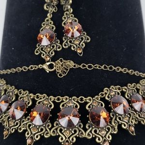 Necklace and Earring Set ,Smoked Topaz , Mariell
